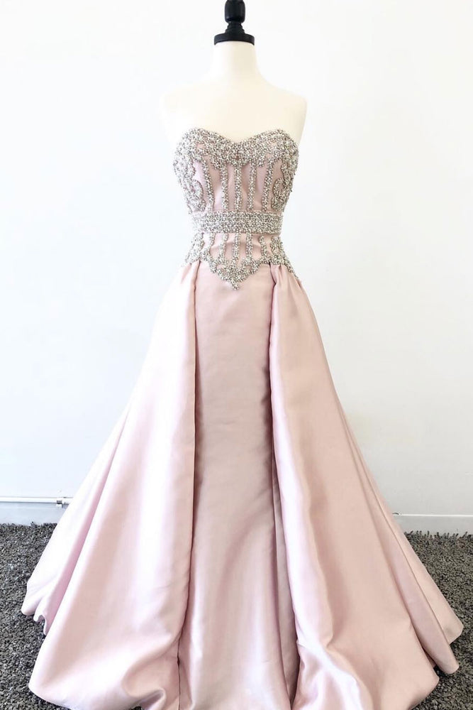 pink sweetheart neck beads long prom dress, pink evening dress
