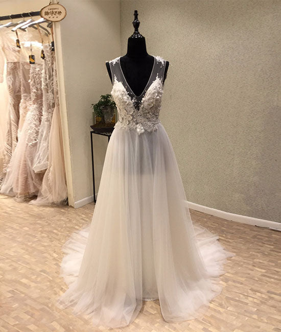White A-line tulle lace long prom dress, white wedding dress