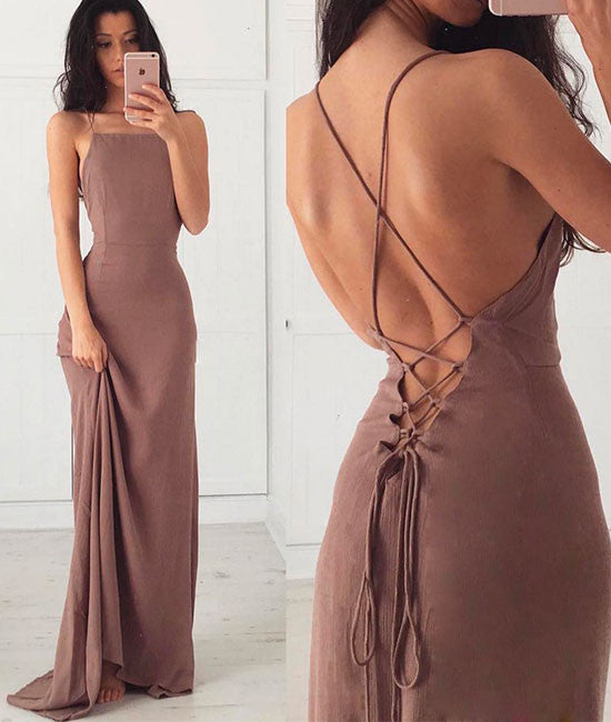 Unique backless chiffon long prom dress, evening dress