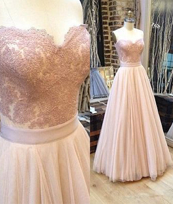 Sweetheart neck tulle lace long prom dress, lace evening dress - shdress