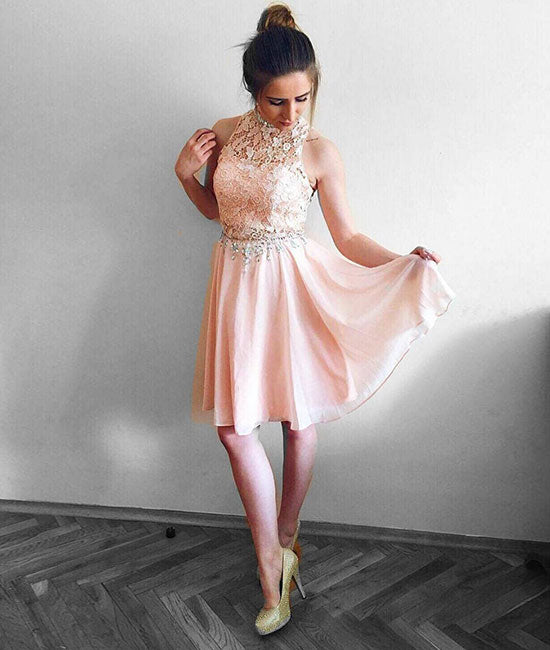 Pink round neck lace chiffon short prom dress, pink homecoming dress - shdress