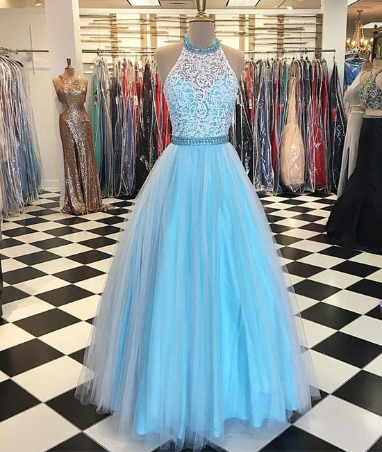 Blue high neck lace tulle long prom dress, blue evening dress