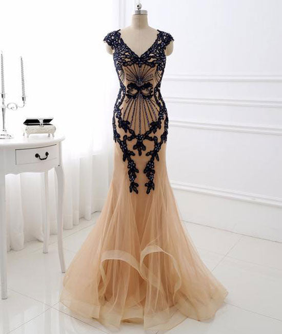 Champagne v neck lace applique mermaid long prom dress