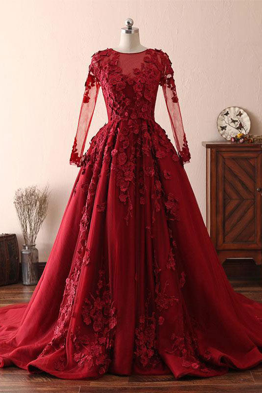 Burgundy round neck lace long prom dress burgundy evening dress