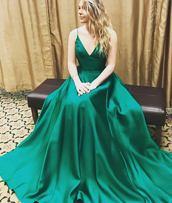 Simple green v neck long prom dress, green evening dress