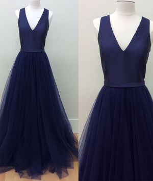 simple v neck tulle long prom dress, dark blue evening dress - shdress