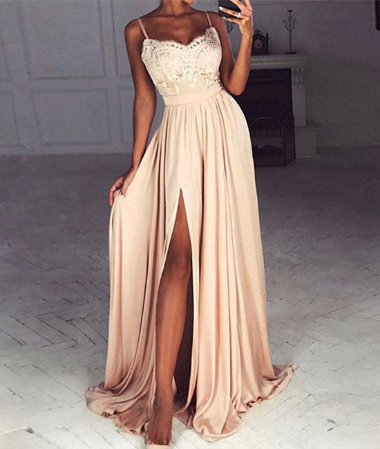 Champagne sweetheart lace long prom dress, formal dress - shdress