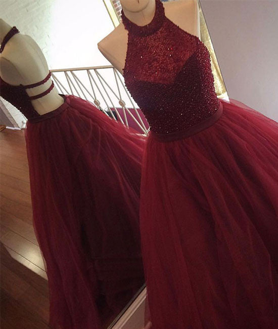 burgundy tulle sequin long prom dress, cute evening dress for teens