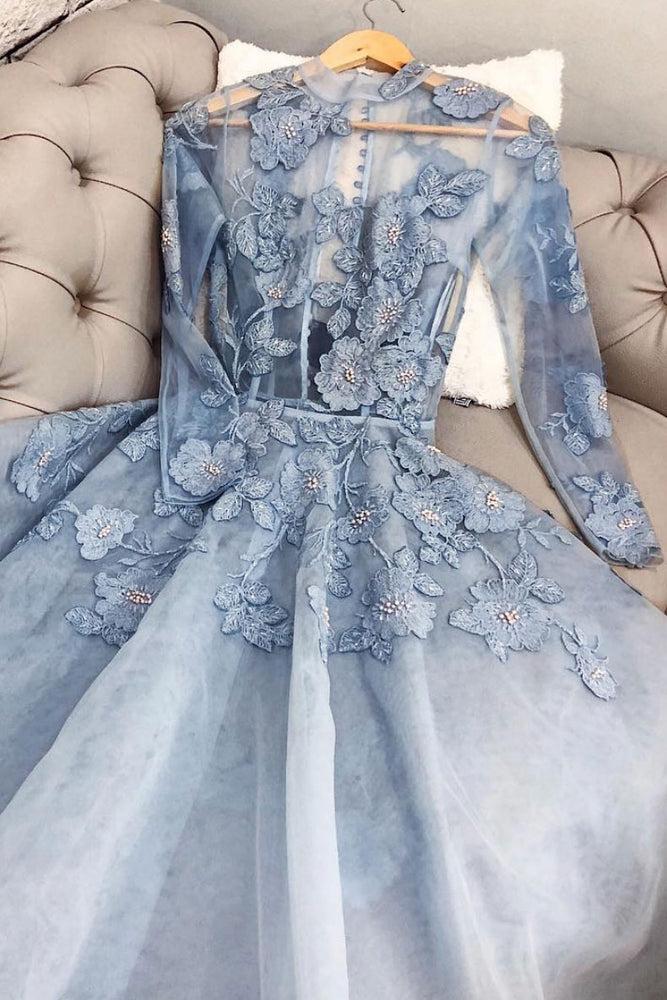 Blue lace tulle long prom dress, blue lace evening dress