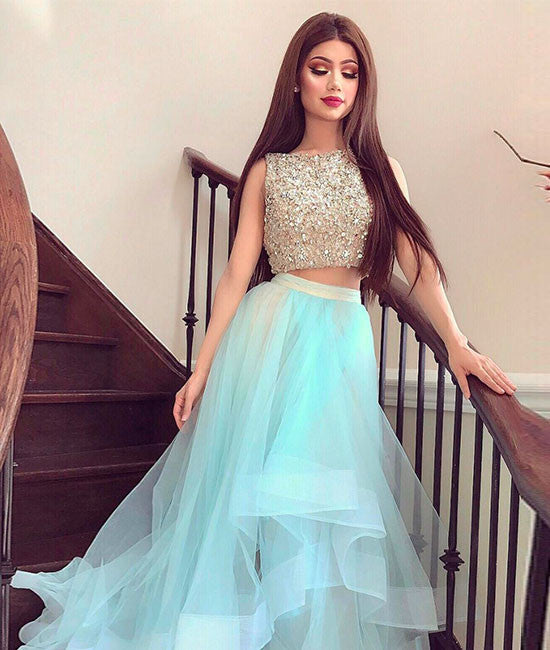Cute two pieces tulle sequin long prom dress, formal dresses