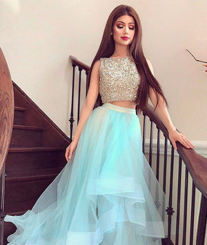 Cute two pieces tulle sequin long prom dress, formal dresses - shdress