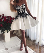 White lace short prom dress, white lace homecoming dress