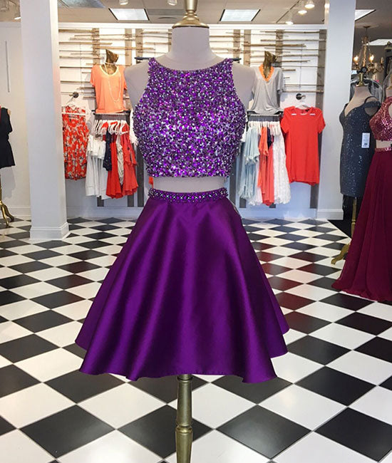 Purple two pieces sequin short prom dress, purple homecoming dress