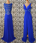 Royal blue v neck chiffon lace long prom dress, evening dress