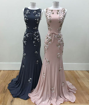 Unique round neck mermaid beads long prom dress, evening dress - shdress