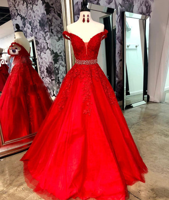Red v neck tulle lace long prom dress, red tulle evening dress - shdress