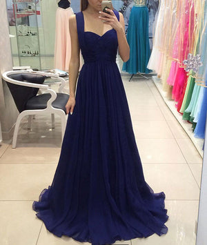 Royal blue chiffon long prom dress, blue bridesmaid dress - shdress