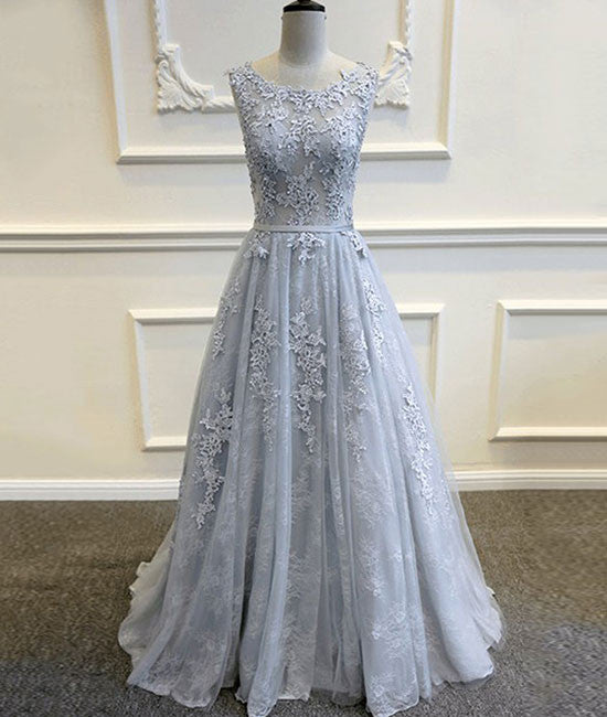 A-line round neck tulle lace long gray prom dress, bridesmaid dress