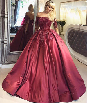 Burgundy lace satin long prom gown, burgundy evening dress - shdress