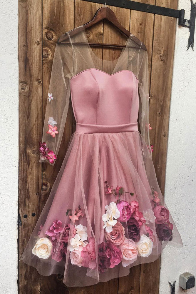 Pink v neck 3D applique short prom dress, pink homecoming dress