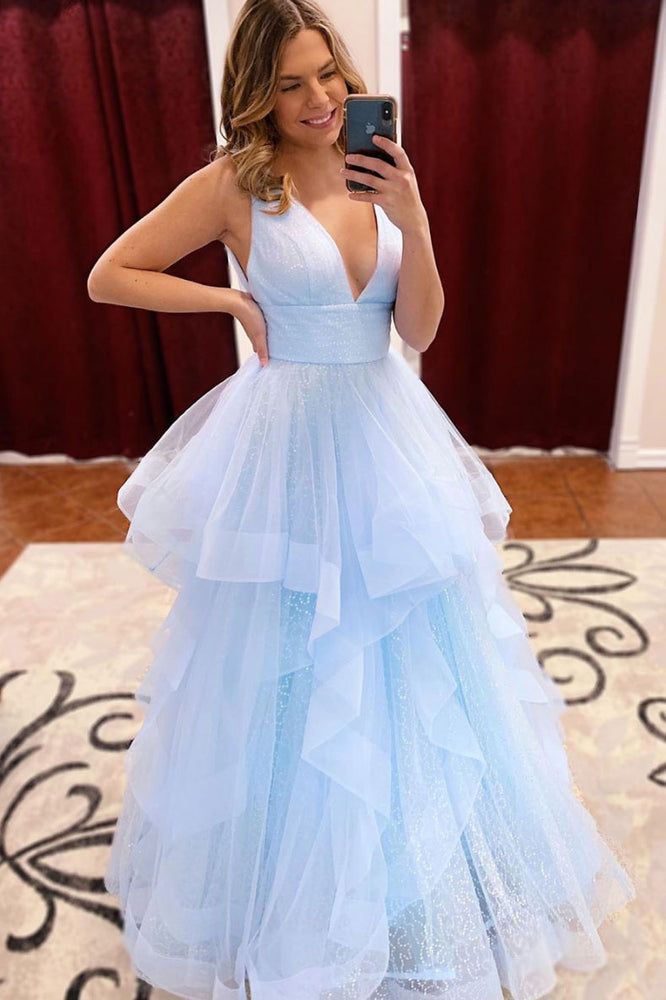 Blue v neck tulle sequin long prom dress, blue tulle formal dress