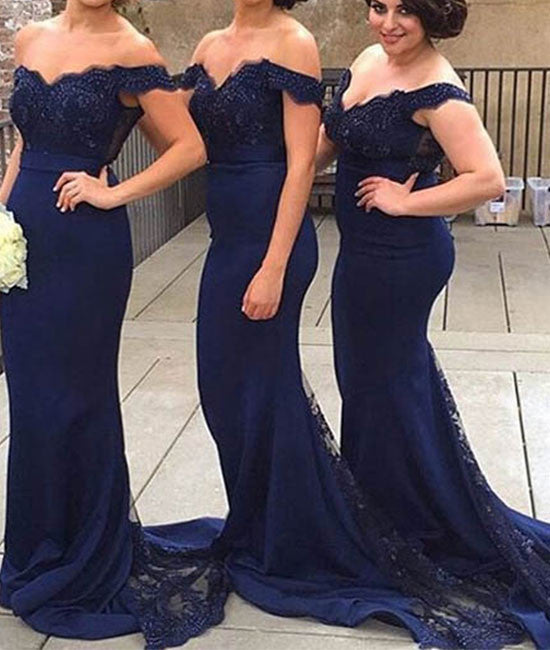 Dark blue off shoulder lace mermaid long prom dress, blue bridesmaid dress