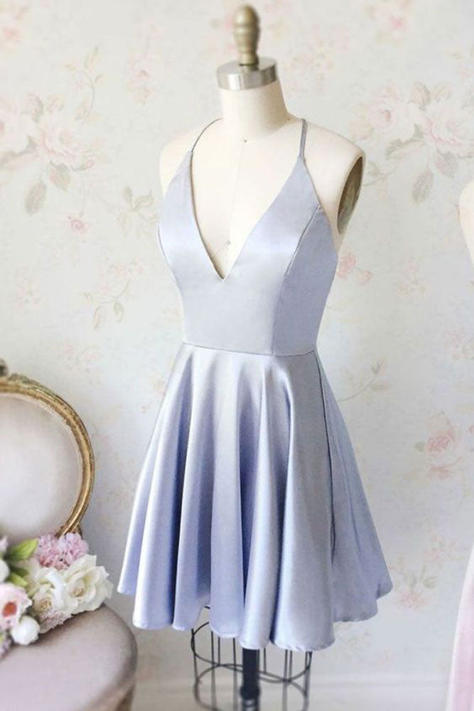 Simple blue v neck short prom dress, blue homecoming dress
