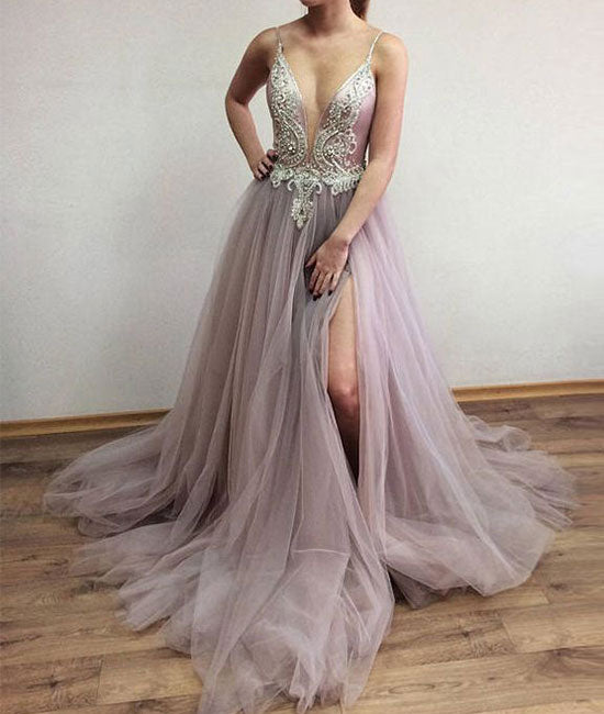 Unique v neck beads tulle long prom dress, evening dress