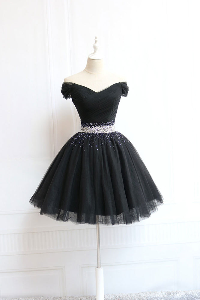 Black tulle off shoulder short prom dress, black homecoming dress