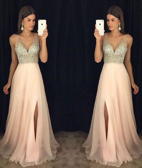 Pink v neck chiffon long prom dress, pink evening dress