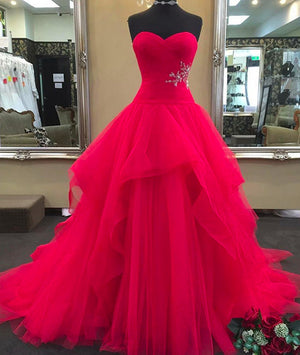Red sweetheart neck tulle long prom dress, red evening dress - shdress