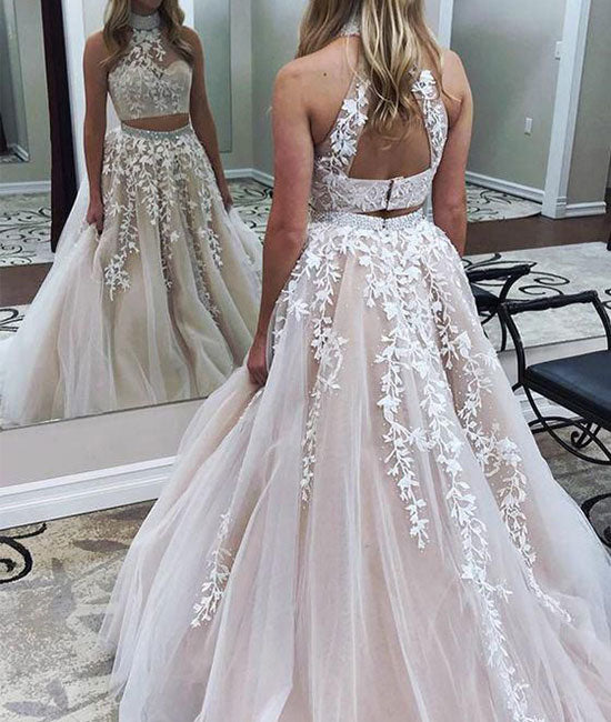 Cute two pieces lace applique tulle long prom dress, evening dress