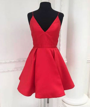 Cute v neck red short prom dress, red homecoming dress - shdress
