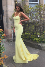 Simple sweetheart yellow satin long prom dress yellow formal dress
