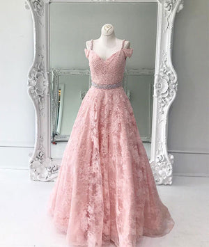 Pink off shoulder lace long prom dress, pink lace evening dress - shdress