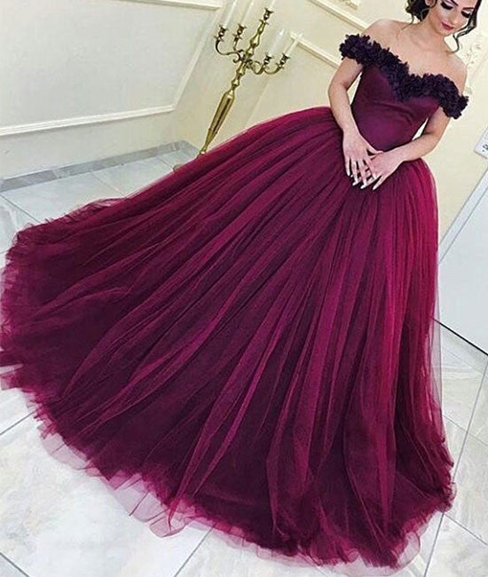 Burgundy tulle long prom gown, burgundy evening dress - shdress