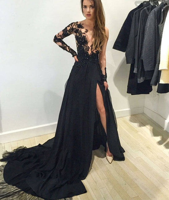Black A-line long Sleeve With Train Prom Dress, Black Evening Dress