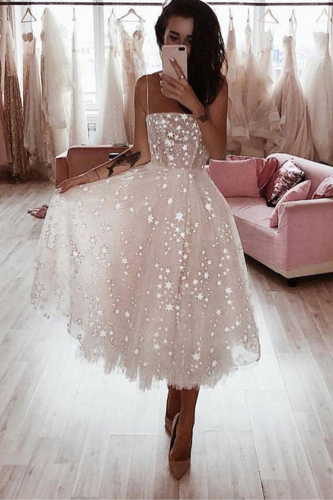 White tulle short prom dress, white tulle homecoming dress