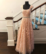 Cute lace champagne prom dress, lace evening dress