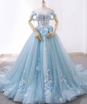 Blue sweetheart tulle lace long prom dress, blue wedding dress - shdress