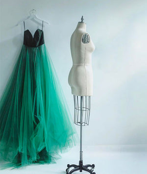 Simple green tulle long prom dress, green evening dress - shdress