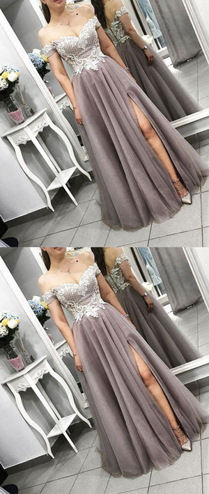 Gray tulle lace long prom dress, gray lace evening dress - shdress