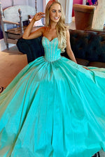 Blue sweetheart beads long prom dress, blue evening dress