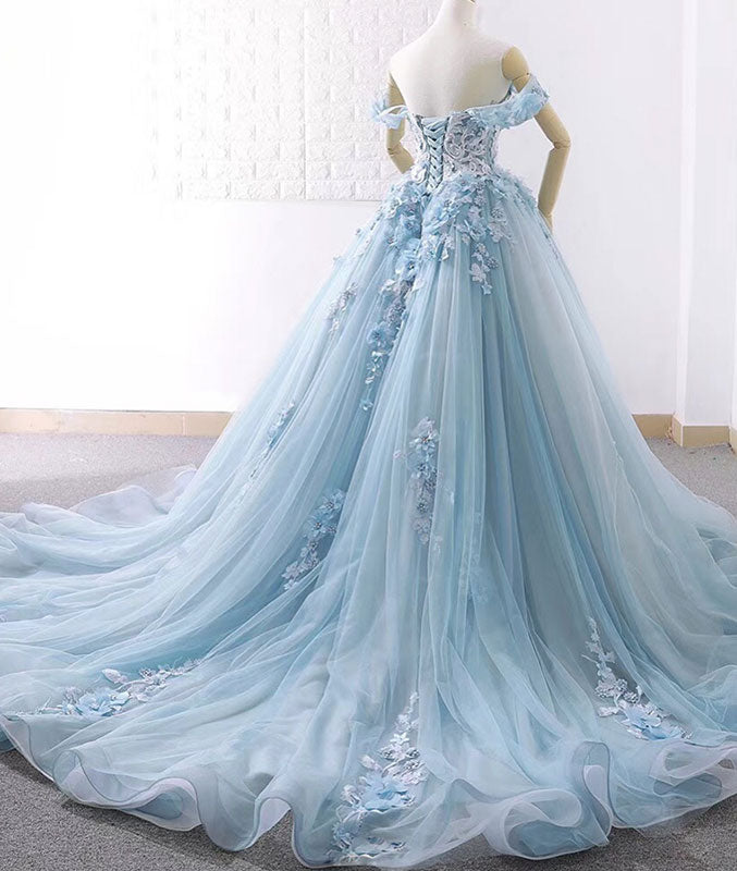Blue sweetheart tulle lace long prom dress,