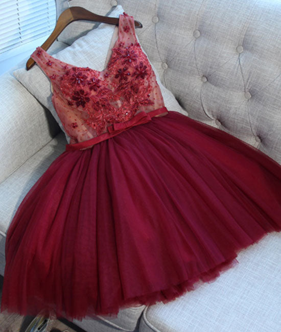 Burgundy v neck tulle applique short prom dress, burgundy homecoming dress - shdress