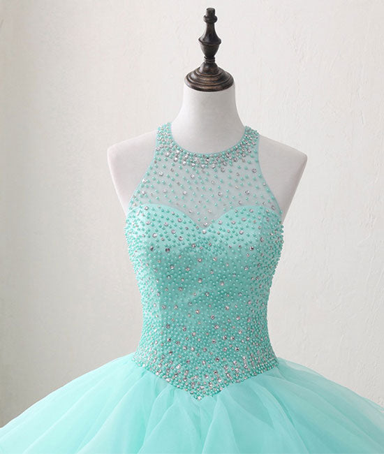 Cute green round neck tulle beads long prom dress, sweet 16 dress - shdress