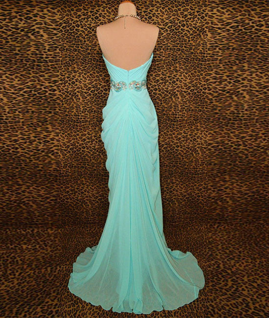 Unique blue chiffon beads long prom dress, blue evening dress - shdress