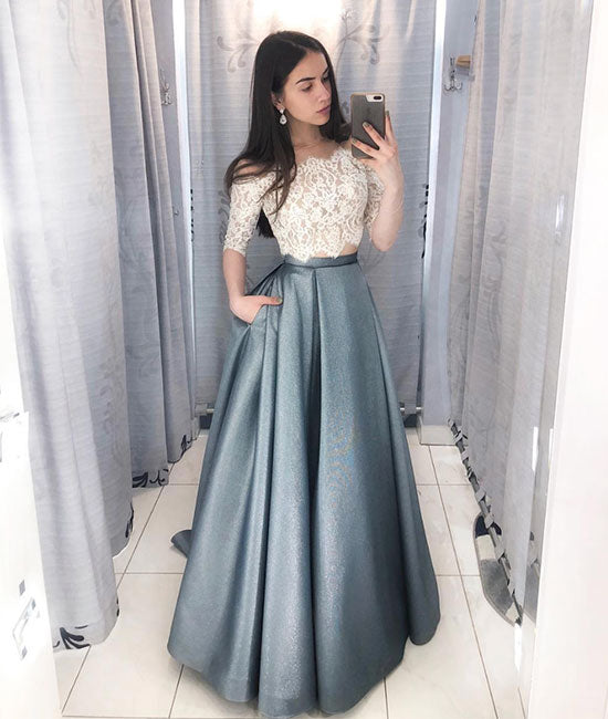 Unique lace two pieces long prom dress, lace evening dress - shdress