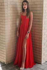 Simple red chiffon long prom dress, red evening dress
