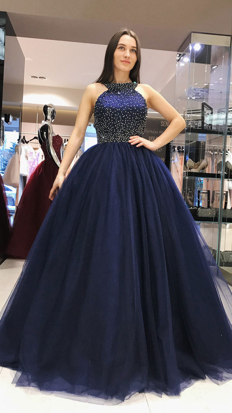 Dark blue tulle beads long prom dress, dark blue evening dress - shdress